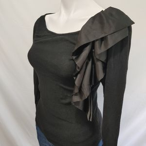 BEBE Black sweater w/ Ruffle size M